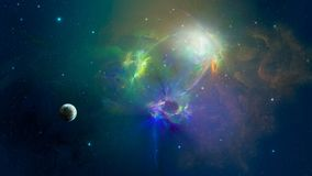 Space scene. Multi colored nebula with planet. Elements furnishe. D by NASA. 3D rendering, illustration Stock Photo