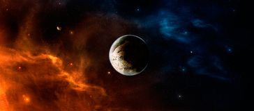 Space scene. Orange and blue nebula with planet in middle. Eleme. Nts furnished by NASA, illustration Royalty Free Stock Image