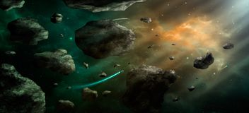 Space scene. Orange and green nebula with asteroids and spaceshi. Ps. Elements furnished by NASA. 3D rendering, illustration Royalty Free Illustration