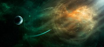 Space scene. Orange and green nebula with planet and spaceships. Elements furnished by NASA. 3D rendering, illustration Vector Illustration