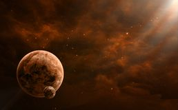Space scene. Orange nebula with two planet. Elements furnished b. Y NASA. 3D rendering, illustration Royalty Free Stock Photography