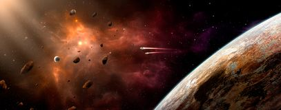 Space scene. Orange and violet nebula with planet and spaceship. Elements furnished by NASA. 3D rendering, illustration Stock Illustration