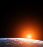 Space Scene of Planet Earth with Sun Stock Photo