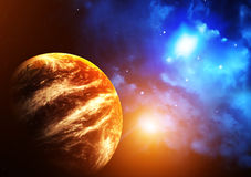 Space scene with planet and nebula Royalty Free Stock Photos
