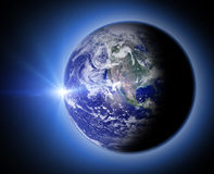 space scene with planet and sun Royalty Free Stock Image