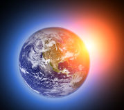 Space scene with planet and sun Royalty Free Stock Photos