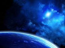 Space scene with planets and nebula Royalty Free Stock Images
