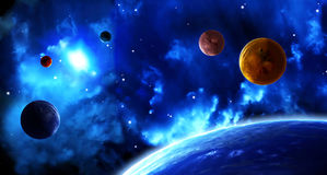 Space scene with planets and nebula stock illustration