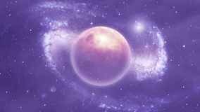 Space scene with planets and nebula. Nebula space scene - fog, nebula, planet, glowing objects on the celestial sphere in motion stock footage