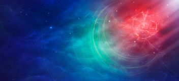 Space scene. Red and blue nebula with stars. Elements furnished. By NASA. 3D rendering, illustration Royalty Free Stock Images