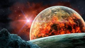 Space scene. Red nebula with planet in fire and big asteroid. El. Ements furnished by NASA. 3D rendering royalty free illustration