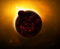 Space scene with red planet Stock Photo
