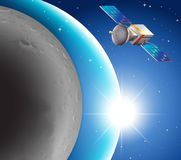 Space scene with satellite and blue planet. Illustration Stock Images