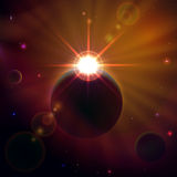 Space scene with shining Sun. Space background with planets, stars and shining sun, illustration Stock Photos