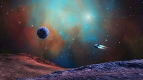 Space scene. Spaceeship fly through colorful nebula with planet and land. Elements furnished by NASA. 3D rendering.  stock illustration