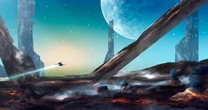 Space scene. Spaceship fly above lava land with buildings and pl. Anet. Elements furnished by NASA. 3D rendering. Illustration Vector Illustration