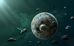 Space scene. Two planet between asteroids with dark green nebula. And spaceships. Elements furnished by NASA, illustration Royalty Free Stock Photo