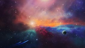 Space scene. Two small spaceship fly in colorful nebula with planet. Elements furnished by NASA. 3D rendering.  stock footage