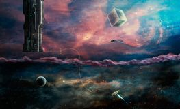 Space scene. Two worlds aliens and our. Elements furnished by NA Royalty Free Stock Photo