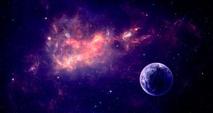 Space scene. Violet nebula with planet. Elements furnished by NA. SA. 3D rendering, illustration Royalty Free Stock Photo