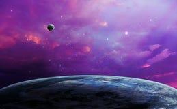Space scene. Violet sky with planet. Elements furnished by NASA. 3D rendering, illustration Stock Illustration