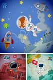 Space scenes with astronauts and spaceships Royalty Free Stock Photos