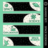 Space Science banner set. Set of  4 thin line style flat icons with a space science theme. Graphics are grouped and in several layers for easy editing. The file Stock Image