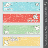 Space Science banner set. Set of  4 thin line style flat icons with a space science theme. Graphics are grouped and in several layers for easy editing. The file Stock Photo