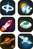 Space science fiction. Cartoon icons Royalty Free Stock Image