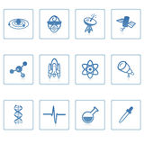Space and Science icon I. A set of web icons with light reflections Stock Image