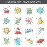 Space Science icon set. Set of 16 thin line style flat icons with a space science theme. Graphics are grouped and in several layers for easy editing. The file Stock Illustration