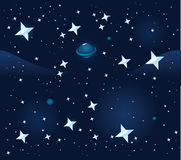 Space seamless background. Vector illustration Stock Photography