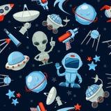 Space seamless background. Astronaut alien UFO ship Stock Illustration