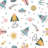 Space seamless background for babies. Trendy kids hand drawn a seamless pattern with planets and rockets. Baby vector background in a doodle style Royalty Free Stock Photo
