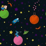 Space. Seamless cartoon  pattern. Space with planets with inhabitants, rockets, comets and stars. Vector illustration. Part 3 Stock Photo
