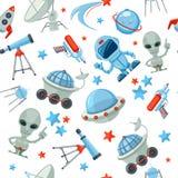 Space seamless pattern. Astronaut alien UFO ship Stock Illustration