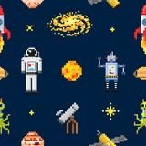 Space seamless pattern background, alien spaceman, robot  Royalty Free Stock Image