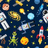 Space seamless pattern background, alien spaceman, robot  Royalty Free Stock Photography