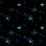 Space seamless pattern on a black background with stars, planets, galaxies stock illustration