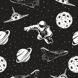 Space seamless pattern. Black and white version. Royalty Free Stock Photos