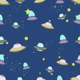 Space seamless pattern cartoon vector illustration Stock Photos