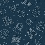 Space seamless pattern. Futuristic universe background with astronaut shuttle rocket stars and planets vector textile stock illustration