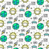 Space seamless pattern with planet earth, sun, flying saucer, inscription, rocket, star, lightning. Royalty Free Stock Photography