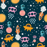 Space Seamless Pattern. With planets, rockets, flying saucers, aliens, astronauts. Vector Royalty Free Stock Image