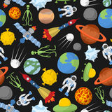 Space seamless pattern. Planets and rockets, UFO and alien, sate Stock Photo