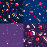 Space Seamless Pattern 4 Samples Square Stock Images