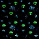 Space seamless pattern with stars, flying saucer, aliens. UFO vector illustration