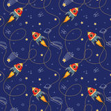 Space seamless pattern with toy spaceship, planets and stars. In doodle style Stock Images