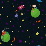 Space. Seamless space pattern with cartoon planets with inhabitants, rockets, comets and stars. Vector illustration Royalty Free Stock Photos