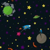 Space. Seamless space pattern with cartoon planets with inhabitants, rockets, comets and stars. Vector illustration. Part 2 Royalty Free Stock Images